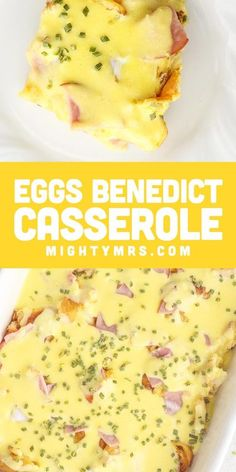 Eggs Benedict Casserole - This easy breakfast casserole recipe is a great way to feed a crowd! This baked Eggs Benedict casserole is ideal for overnight guests, weekends, brunch, holidays or showers. Make ahead and bake in the morning. Simple! Made with English Muffins or croissants for a delicious butter flavor, lemony Hollandaise sauce, and ham or Canadian bacon. Check out the video to see how to make this easy breakfast casserole recipe.