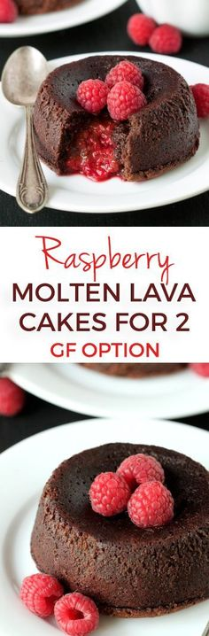 These Raspberry Molten Lava Cakes make the perfect Valentine's Day dessert for two! They can be made gluten-free, whole wheat or with all-purpose flour. Also with a dairy-free option.