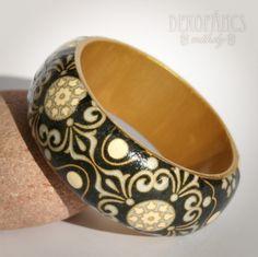 Ezüst- arany-fekete karkötő, Ékszer, Meska jewelry, bracelet, decoupage Decorative Bowls, Jewelry, Bracelets, Diy, Jewlery, Bijoux, Bricolage, Jewerly, Bracelet