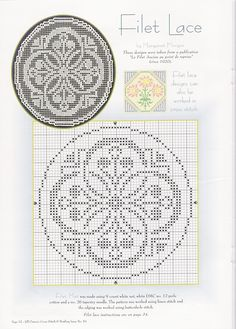 "clear chart; no floss numbers needed.  says ""lace"" but is definitely cross stitch-able!  lovely pattern"