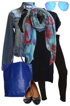 Pop of Blue #outfitidea #style #winterstyle #scarf #bluebungalow