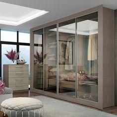 Você não precisa mais tirar as roupas do #guardaroupa para escolher qual irá usar hoje! <3 As portas de vidro são ótimas para evitar dúvidas antes de tirar todas as opções! #decoração #design #madeiramadeira