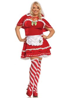 Plus Miss Candy Cane Costume - Christmas Cosplay Costumes - http://christmascosplay.com/christmas-cosplay/candy-cane-cosplay