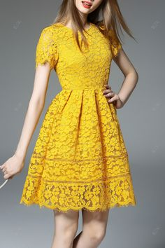 Shop dandanwinnie golden short sleeve lace dress here, find your mini  dresses at dezzal, huge selection and best quality.