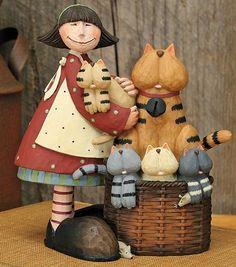 Girl With Basket of Cats Figurine – Everyday Folk Art Figurines & Collectibles – Williraye Studio $25.00
