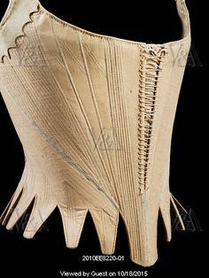 Stays. England, ca. 1780-1789. Linen, whalebone, leather.