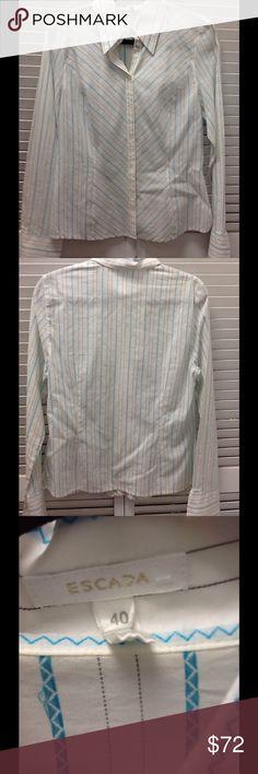 Escada stripe long sleeves blouse Sz xs Escada stripe long sleeves blouse Sz xs Escada Tops Blouses