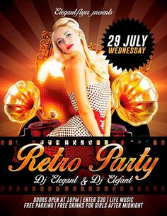 Free Retro Party PSD Flyer Template - http://freepsdflyer.com/free-retro-party-psd-flyer-template/ The Free Retro Party PSD Flyer Template was designed to promote your next DJ party and club event. Promote your special club DJ! This print ready free flyer template includes a 300 dpi print ready CMYK file. All main elements are editable and customizable. #Club, #Dance, #Electro, #Event, #Glamorous, #Indie, #Lounge, #Night, #Party, #Retro, #Rock, #Vintage
