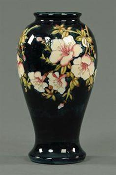 A Moorcroft Collectors Club oriental blossom vase, 1996 Pottery Painting Designs, Pottery Designs, Bottle Painting, Bottle Art, Raku Pottery, Thrown Pottery, Slab Pottery, Ceramic Art, Ceramic Bowls