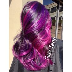 Guy Tang - My client wanted purple and pink with low maintenance! Here's the formula, I used Pravana hair color for the vivids because they own this category violet, wild orchid, magenta Style using all @A g Hair  products I love their keratin repair line ! And that #aghair texture spray currently rule my world! Curled with @Audrey McGuire Hair  iron which u can still use my guytang160 code on www.bellamihair.com to get $160 off the 6 in 1 iron kit!