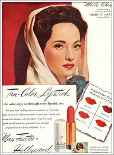 Max Factor Advert from the 40s with Merle Oberon (19 February 1911 – 23 November 1979)