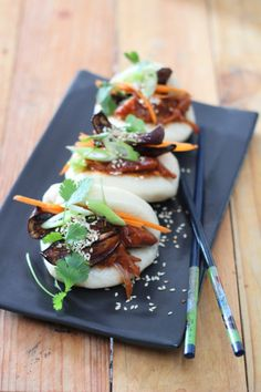 I am so excited about this recipe. Not only because it's super fun to make, but it will also up your culinary repertoire by many levels. Bao buns are super… My Recipes, Vegan Recipes, Aubergine Recipe, Bao Buns, Meat Substitutes, Taste Buds, Eggplant, Ethnic Recipes, Fun