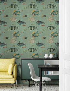 Mind The Gap Wallpaper Collection - Poissons at Rose & Grey. Buy online now from Rose & Grey, eclectic home accessories and stylish furniture for vintage and modern living Fish Wallpaper, Graphic Wallpaper, Green Wallpaper, Wallpaper Panels, Wallpaper Samples, Wallpaper Online, Pattern Wallpaper, Coastal Wallpaper, Bathroom Wallpaper