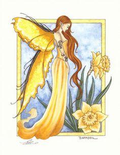 Amy Brown Flower Fairy Faery Print Daffodil Garden Yellow Blossom Bloom Bulb New Fantasy Art Angels, Elves Fantasy, Fantasy Dragon, Amy Brown Fairies, Dark Fairies, Enchanted Fairies, Unicorns And Mermaids, Fairy Pictures, Beautiful Fairies
