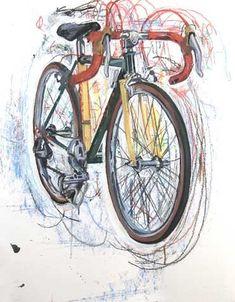 Michael's Bike - Half Blind 6   Bicycle Paintings, Prints and Custom Bike Art Portraits