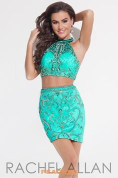 The Rachel Allan 4157 two-piece dress features lattice and vintage beadwork, designed with a halter crop top, illusion keyhole and fitted pencil skirt. Teal Homecoming Dresses, Pageant Dresses, Formal Dress Shops, Formal Dresses, Aqua Dresses, Wedding Dresses, Rachel Allen Dresses, Two Piece Dress, Formal Prom
