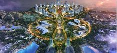Future Buildings, Modern Buildings, Tomorrow Land, Singapore City, Sustainable City, Park Resorts, Fantasy City, Game Theory, Futuristic Architecture