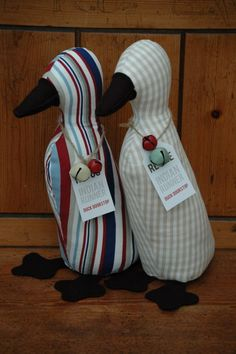Duck Doorstops, my own pattern, made as xmas gifts and stiffed with rice !