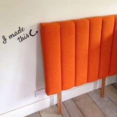 Orange wool fluted headboard for divan single bed kids room