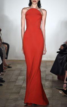 Bonded Crepe Gown In Scarlet by Zac Posen for Preorder on Moda Operandi