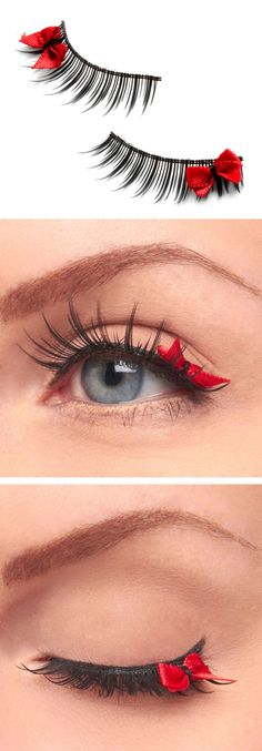 Red bow eyelashes - so dainty and cute for a special occasion!