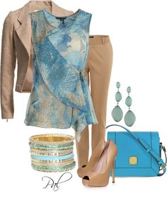 """""""Khaki and Blue"""" by pamlcs Spring Outfits, Winter Outfits, Cool Outfits, Casual Outfits, Spring Clothes, Summer Clothing, Fashion Outfits, Casual Clothes, Work Clothes"""