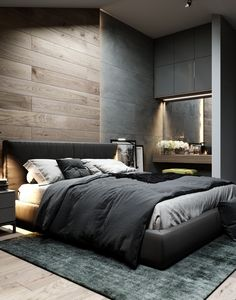 Inspirations Mens Bedroom Ideas - All Bedroom Design Men's Bedroom Design, Modern Bedroom Decor, Modern Mens Bedroom, Men Bedroom, Industrial Bedroom Design, Bedroom Rustic, Trendy Bedroom, Bedroom Bed, Cozy Bedroom