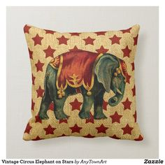 Vintage Decor Diy Vintage Circus Elephant on Stars Throw Pillow - Vintage Circus Elephant on Rustic Red Stars with a burlap look background. Rustic Decorative Pillows, Custom Pillows, Vintage Pillows, Cirque Vintage, Elephant Throw Pillow, Star Cushion, Living Room Decor Pillows, Gold Pillows, Accent Pillows
