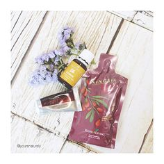 My daily essentials! Ningxia Red, Ningxia Nitro and therapeutic-grade lemon essential oil all of which are by Young Living.