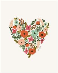 Rifle Paper Co. Floral Heart Art Prints designed by Anna Bond