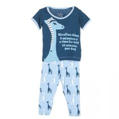 Print Short Sleeve Pajama Set in Pond Giraffe