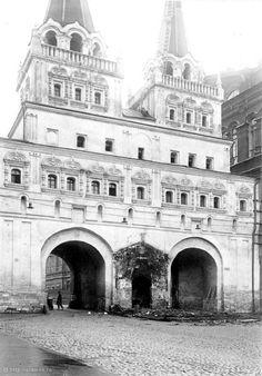 Воскресенские ворота перед сносом часовня Иверской богоматери снесена. 1929_г.
