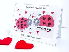 Valentine's Day Card  Ladybugs  Ladybirds  by CraftyMushroomCards