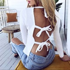 Sexy Backless Bandage Round Neck Long Sleeve T Shirt Top Backless Shirt, Backless Top, Crop Top Blanc, Summer Outfits, Cute Outfits, Merian, White Long Sleeve, White Tops, Diy Clothes
