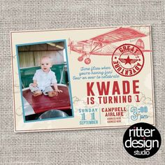 Vintage Airplane Birthday Invitation - Printable Digital File  *This is a Custom Digital/Printable Design Only* [ printing is available, message me for prices ]  My invites are unique and fully customized to your desire.  Colors, Fonts, Wording, # of Photos, etc Can Be Changed Upon Request. The Designs will be made in 4x6 or 5x7 size unless you ask for different!  I will send you a proof of your invite within 48 hours.  Upon your approval of your proof, I will send email you a digital…