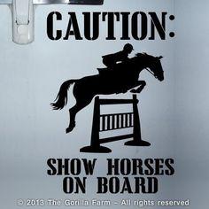 Show Horses Trailer Sign Caution Hunter Jumper Decal Sticker Black White Pink | eBay