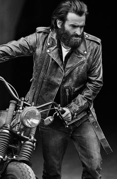 Beard + black + white + bike = babe