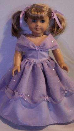 American Girl Doll Clothes  Purple Princess Dress