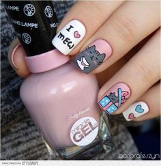 Freehand Pusheen for Valentine's Day nail art by barbrafeszyn – The Best Nail Designs – Nail Polish Colors & Trends Cat Nail Art, Cat Nails, Pusheen, Nail Art For Kids, Thanksgiving Nail Art, Thanksgiving 2017, Trendy Nail Art, Cute Acrylic Nails, Nails Inspiration