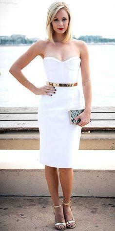 white dress + gold belt + sequined chevron clutch