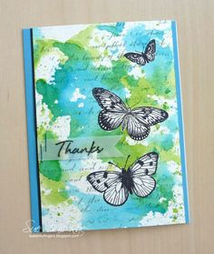 card butterfly butterflies Hero Arts stamp , inked background thanks Cool Cards, Diy Cards, Quick Cards, Mixed Media Cards, Watercolor Cards, Watercolor Bookmarks, Watercolor Background, Butterfly Cards, Card Making Inspiration