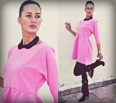Amina Allam - Frontrowshop Bubble Gum Dress, New Look Collar Necklace, Guess? Fringe Boots - Do you like my bubble gum dress?