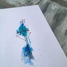 Arrow geometric watercolor tattoo bow