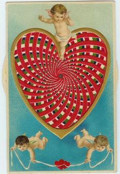 """This """"moveable"""" postcard from 1911 has a heart with a kaleidoscope effect. Illustrated by Ellen Clapsaddle, it was published in Germany and postmarked in Philadelphia. (Courtesy of Nancy Rosin)"""