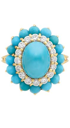 Gold, Turquoise and Diamond Ring, Boucheron, Paris Centering one oval cabochon turquoise approximately 12.0 x 9.2 x 7.8 mm., surrounded by 16 round diamonds approximately 1.25 cts., further surrounded by 16 round cabochon turquoises, signed Boucheron, Paris, no. 49909, with French assay mark,