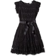 Red Valentino Lace Tie Waist Ribbon Dress (35,185 PHP) ❤ liked on Polyvore featuring dresses, vestidos, black, short dresses, mini cocktail dress, evening dresses, short sleeve cocktail dresses, short cocktail dresses and cocktail party dress