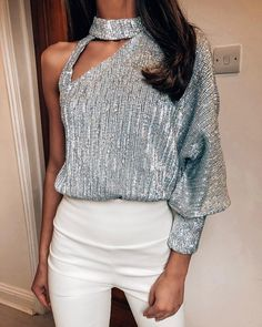 Women Fashion Sexy Off Shoulder Tops Hollow Out Sequin Blouse Ladies Lantern Long Sleeve Shirts Female Bright Shinny Blusa - buy in dream Trendy Outfits, Fashion Outfits, Womens Fashion, Fashion Blouses, Fashion Beauty, Fashion Trends, Off Shoulder Tops, Shoulder Cut, Party Shirts