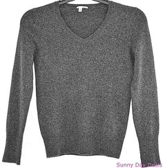 Halogen Sweater Pure Cashmere V Neck Long Sleeve Gray S Petite Nordstrom SP…
