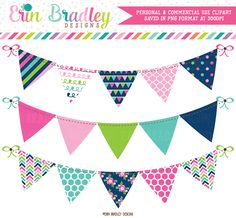 Cheery Day Banner Flag Bunting Clipart – Erin Bradley/Ink Obsession Designs