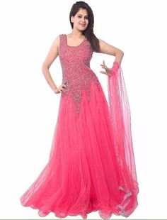 Attractive Pink Anarkal Suit Wedding Wear Orange Color Silk For Party Wear - Dress Material Party Wear Dresses, Party Gowns, Stone Work Blouse, Net Gowns, 1920s Outfits, Anarkali Gown, Lengha Choli, Designer Gowns, Wedding Wear
